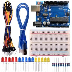 H007 UNO R3 + breadboard 400 point + LEDs Starter Learning Kit per Arduino